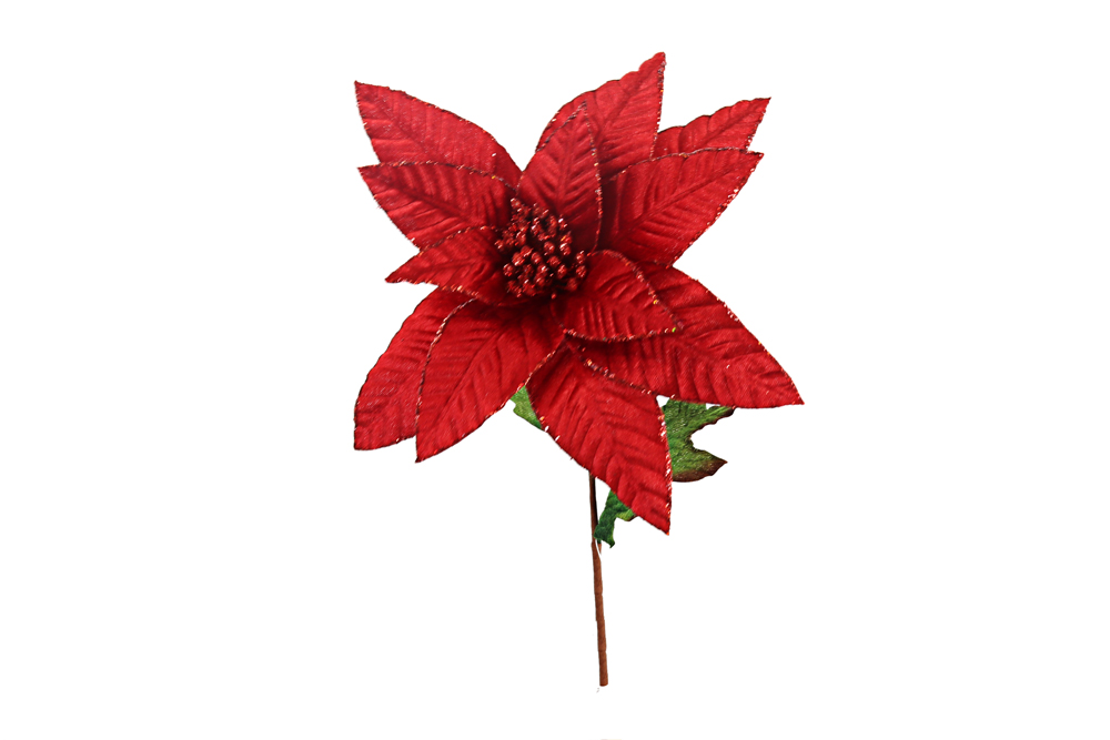 Silk Red Poinsettia Stem