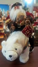 Santa Riding Polar Bear Plush